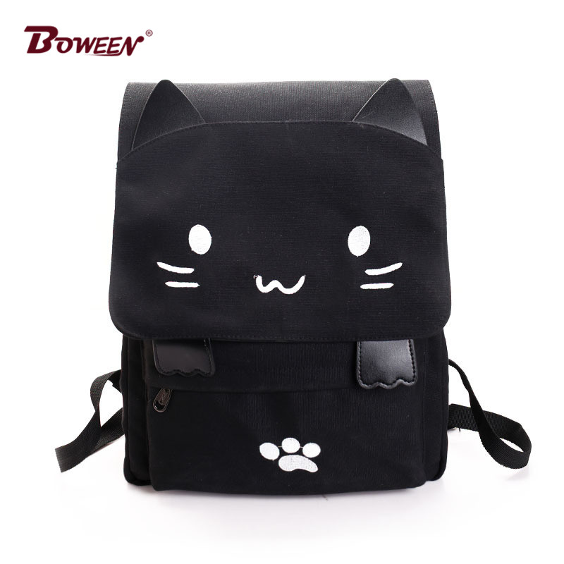 Backpack Women Canvas Big Black School Bags for Teenagers Girls Book Bag Embroidery Printing Back Bag Cat Cute Rucksack Bookbag day night embroidery backpacks 2017 fashion women canvas school bags for teenagers girls laptop backpack travel bag rucksack