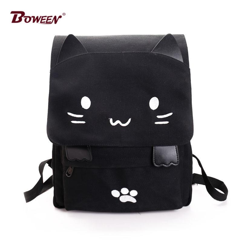 Backpack Women Canvas Big Black School Bags For Teenagers Girls Book Bag Embroidery Printing Back Bag Cat Cute Rucksack Bookbag