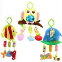 40cm Cute Newborns Baby Plush Toys Early Education Baby Toy Comfort Ring Bell Owl Elephant Little