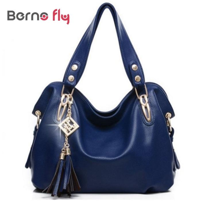 2016 New high Quality PU Leather Tassel Bag solid zipper Shoulder Bags Women Messenger Bags Women