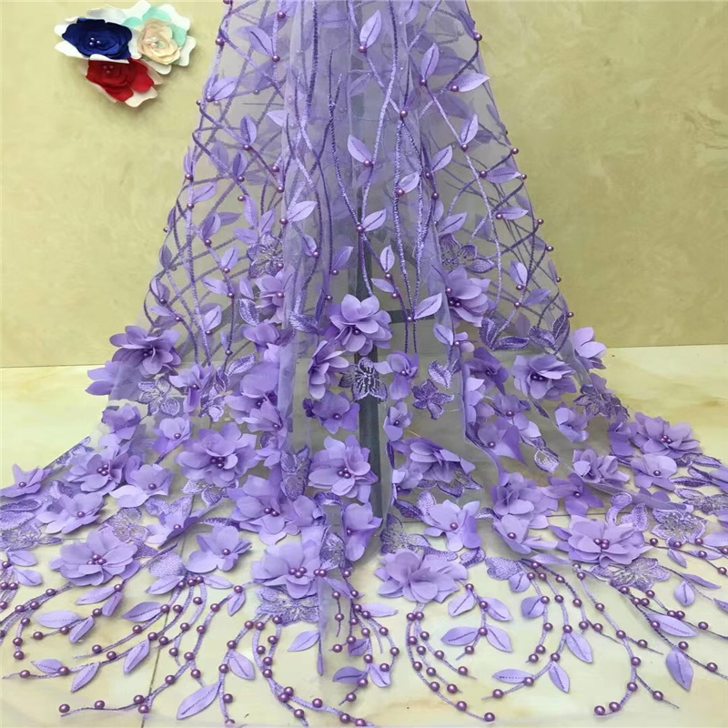 VILLIEA High Quality African Lace Fabric 2018 Latest 3d Flower Tulle Lace Nigerian Lace With Sequins