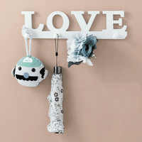 Home Bedroom Wall Shelf Wood White Love Wall Rack Key Hat Clouthes Holder Storage Stand Home Decor