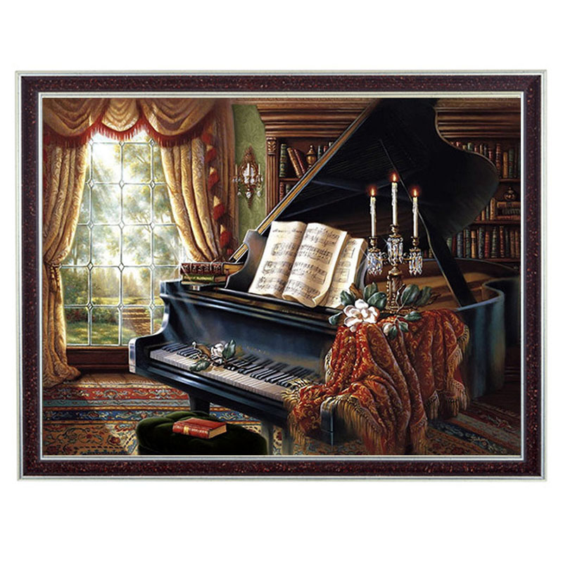 Needlework Craft Home decor 14CT unprinted embroidery French DMC Quality Counted Cross Stitch Kit DIY Oil painting Piano