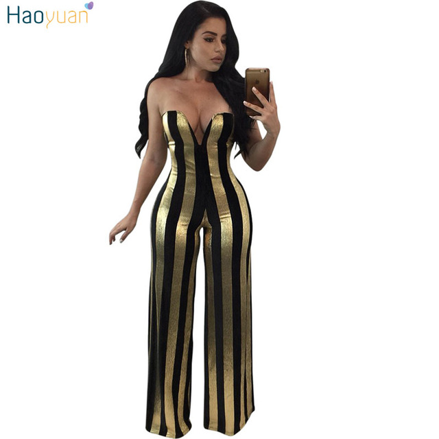 0262276588a2 HAOYUAN Gold Balck Striped Rompers Womens Jumpsuit Elegant Off Shoulder  Sexy Bodysuit Party Overalls Female Wide Leg Jumpsuits