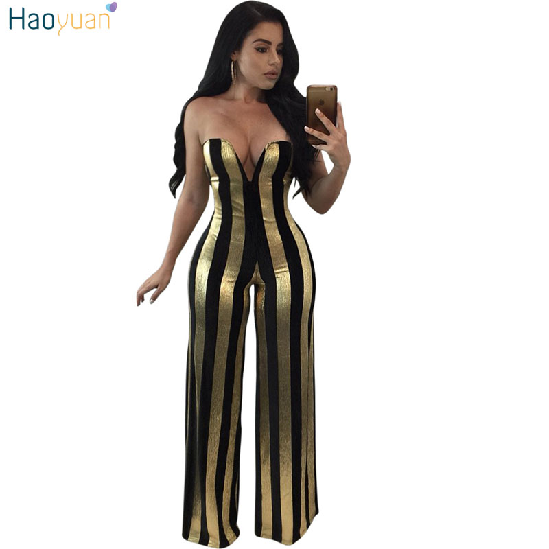 HAOYUAN Gold Balck Striped Rompers Womens   Jumpsuit   Elegant Off Shoulder Sexy Bodysuit Party Overalls Female Wide Leg   Jumpsuits