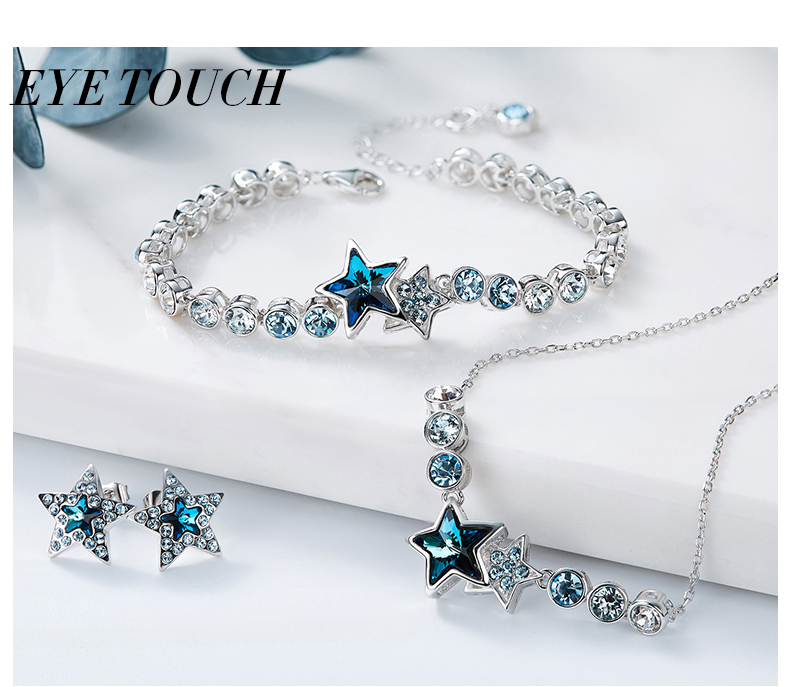 EYE TOUCH Crystals From Swarovski S925 Sterling Silver jewelry Women Necklace Bracelet Earrings sets Female Party Gift Elegant
