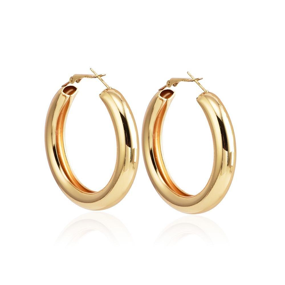 Новая мода Популярные личности большая карта толстые круглые серьги женские ювелирные изделия оптом - Окраска металла: Gold