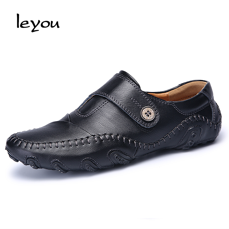 Fashion men driving shoes cow leather shoes breathable loafers male genuine leather casual shoes flat slip