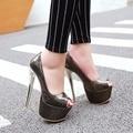 2017 Новое прибытие Черный Розовый Лакированной кожи Peep toe Платформы женщин насос Большой размер 35-48 Super High Тонкий каблук женской обуви y-38