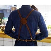 Unisex Blue Black Denim Bib Apron W Leather Strap Barber Barista Florist Cafe Chef Uniform Tattoo