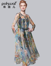 POKWAI Elegant Long Sleeve Bohemian Floral Summer Silk Party Dress Women 2017 Brand Boho Womens Clothing A-Line Swing Dresses