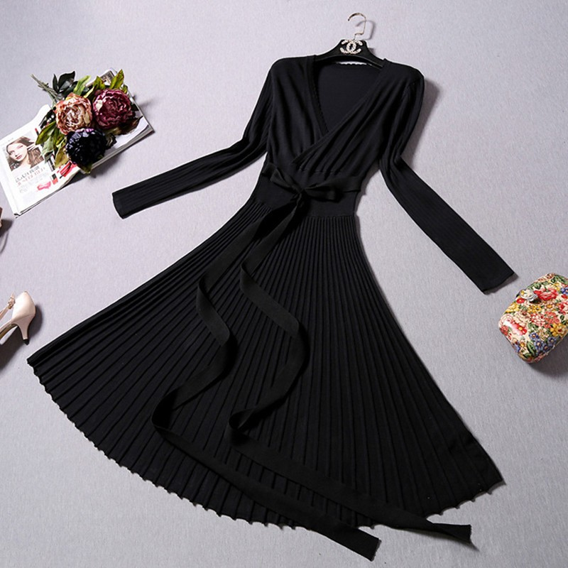 CHANGLA-2016-Autumn-Women-s-Fashion-Sweaters-Dresses-A-line-Deep-V-Neck-Belted-Pleated-Vintage