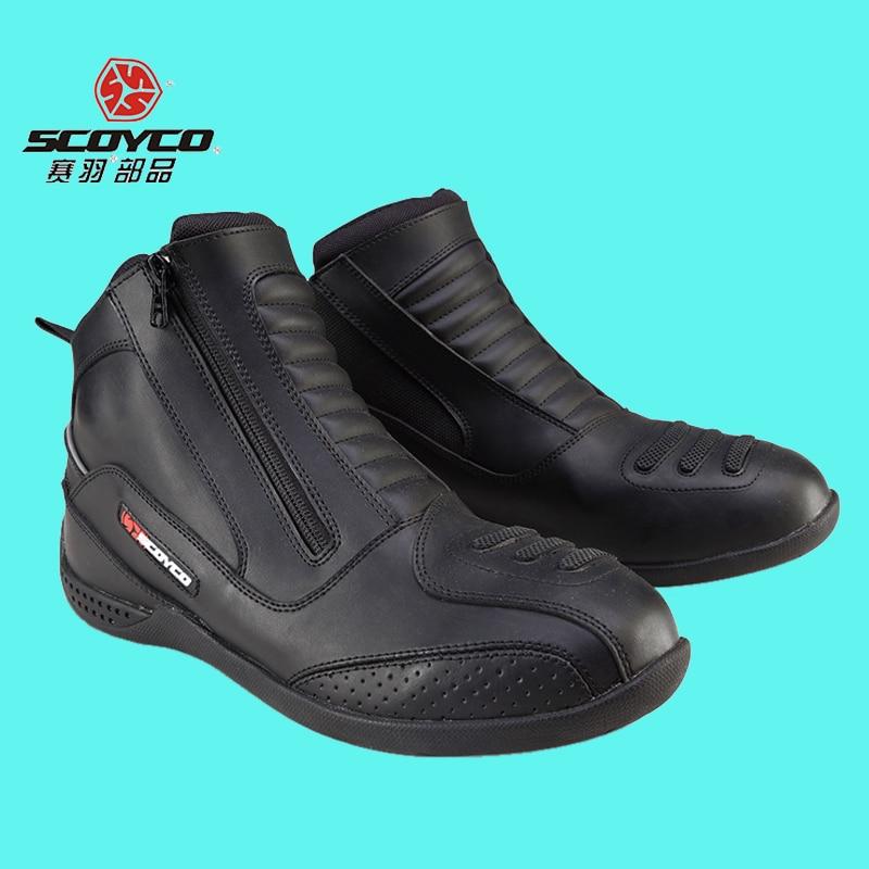 Original SCOYCO Hot MBT002 Moto Racing Leather Motorcycle Boots font b Shoes b font Motorbike Riding