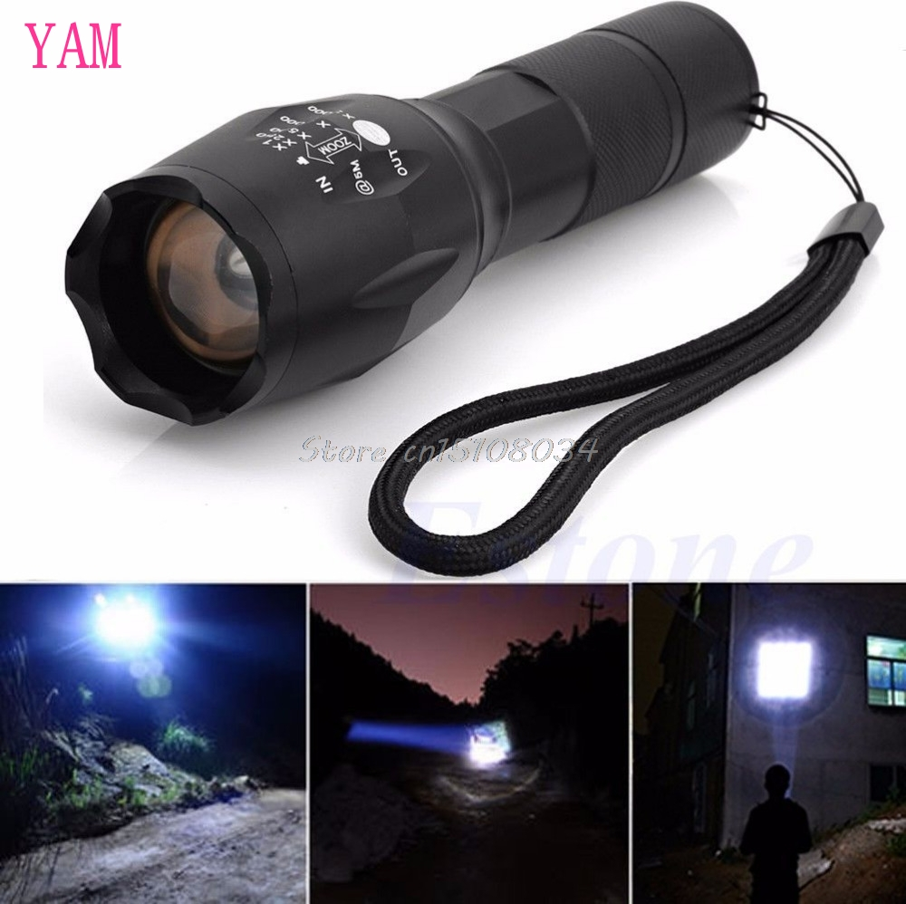 Zoomable 5000Lumen 5 Modes XML T6 LED Flashlight Torch Lamp Light 18650 Powerful #S018Y# High Quality high lumen led flashlight 4 2v cree xml t6 2 18650 battery 5 modes focalize flash lamp 2 18650 batteries battery charger
