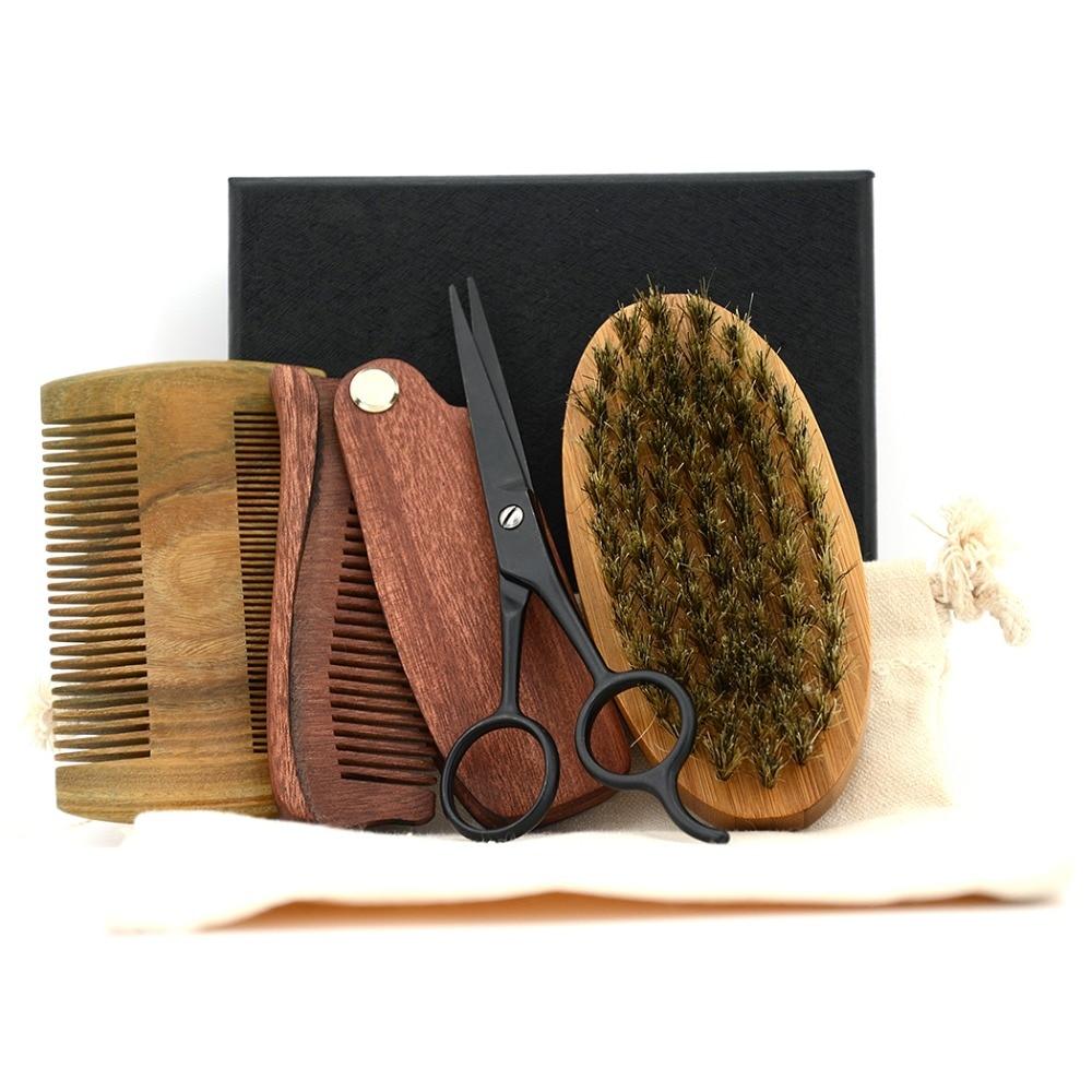 ZY Muži holení štětin Bamboo Brush Kit Mustache Beard Nůžky - Holení a odstranění chloupků