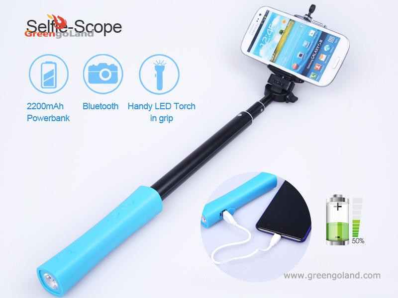 b671cd3579ee99 New arrival Multi function selfie stick 3 in 1 monopod bluetooth power bank  led flashlight for smartphones-in Selfie Sticks from Consumer Electronics  on ...