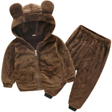 Baby Boy Winter Clothes Sets Plush Hooded Jacket 2pcs Childr
