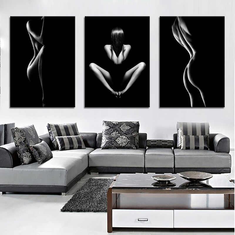 3 ชิ้น Nude Woman Body Art โปสเตอร์สีดำสีขาว Wall Art ภาพตกแต่งบ้านสติ๊กเกอร์ติดผนังภาพวาดแฟชั่นของขวัญ