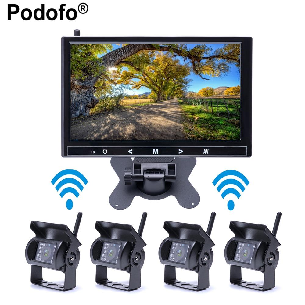 Podofo Wireless Car Backup Camera 9 HD Monitor & 4 Rear View Camera Reverse Reversing Night Vision Waterproof for Truck Trailer
