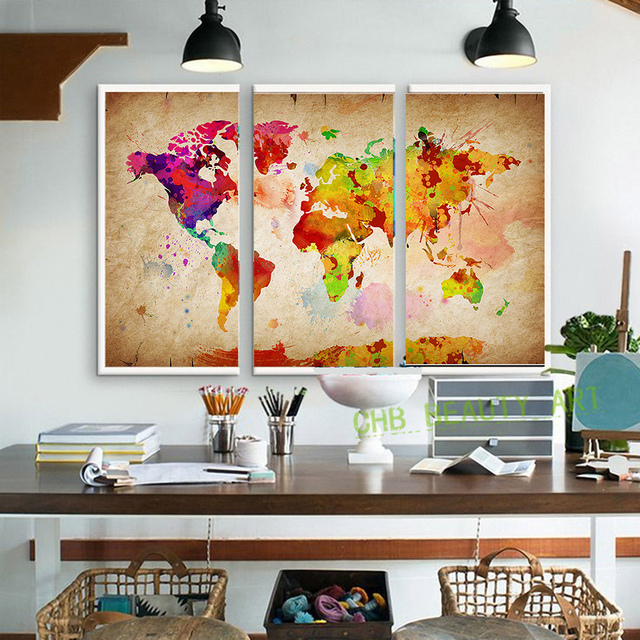 3 Pieces Canvas Wall Art Painting World Watercolor Map Landscape Pictures For Living Room