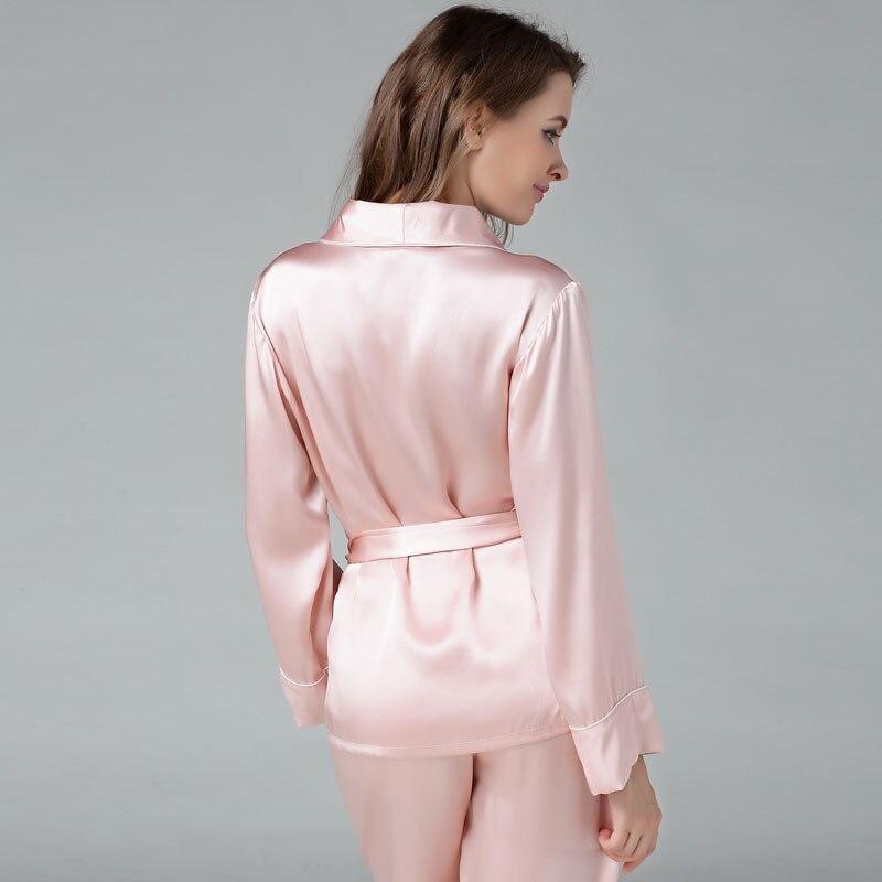 e4f8b932cee3f 100% pyjama en soie de mûrier ensemble pour les femmes solide luxueux haut  de kimono + long pantalon pyjamas salon porter pyjamas costume femme dans  Pyjama ...