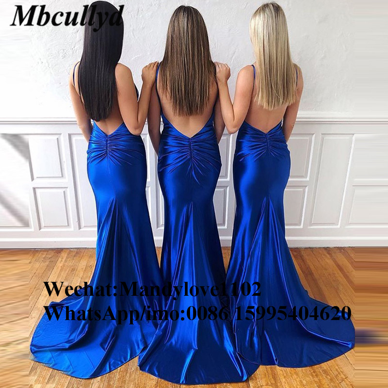 Mbcullyd Royal Blue Elastic Satin Bridesmaid Dresses 2019 Sexy Backless Dress For Wedding Party Cheap Robe Demoiselle D'honneur