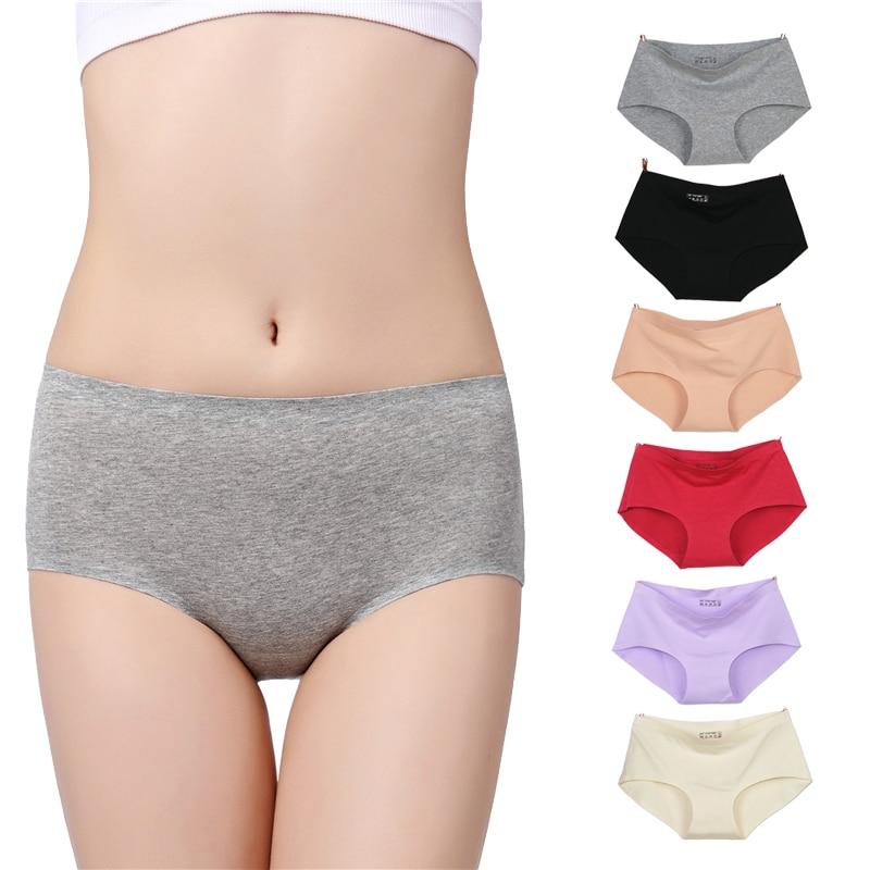 Le nouveau processus intime coton femmes culottes non-trace sous-vêtements sans couture Ms dans la taille sexy coton naturel slips