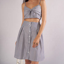 Summer Beach 2Pieces Sets Clothes Women Sexy Strap V neck Crop Top Stripe Drawstring Bow Skirt Suits Sleeveless Female 2 Pcs Set(China)