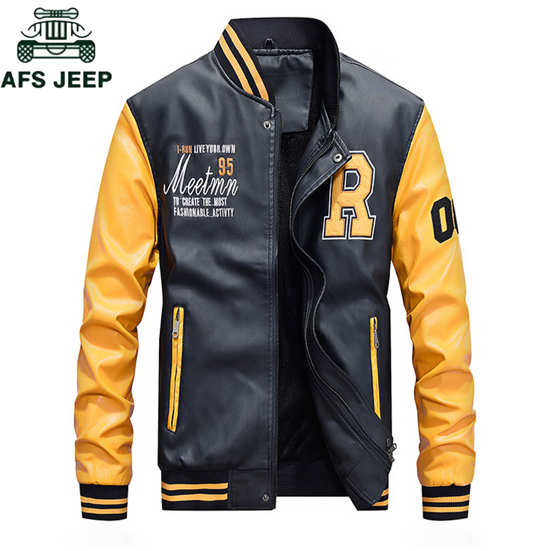 AFS JEEP Brand 2018 Fashion Baseball Leather Jacket Men Plus Size M 4XL Autumn Winter Jaqueta Couro Mens PU Leather Jackets Coat-in Faux Leather Coats from Men's Clothing    1