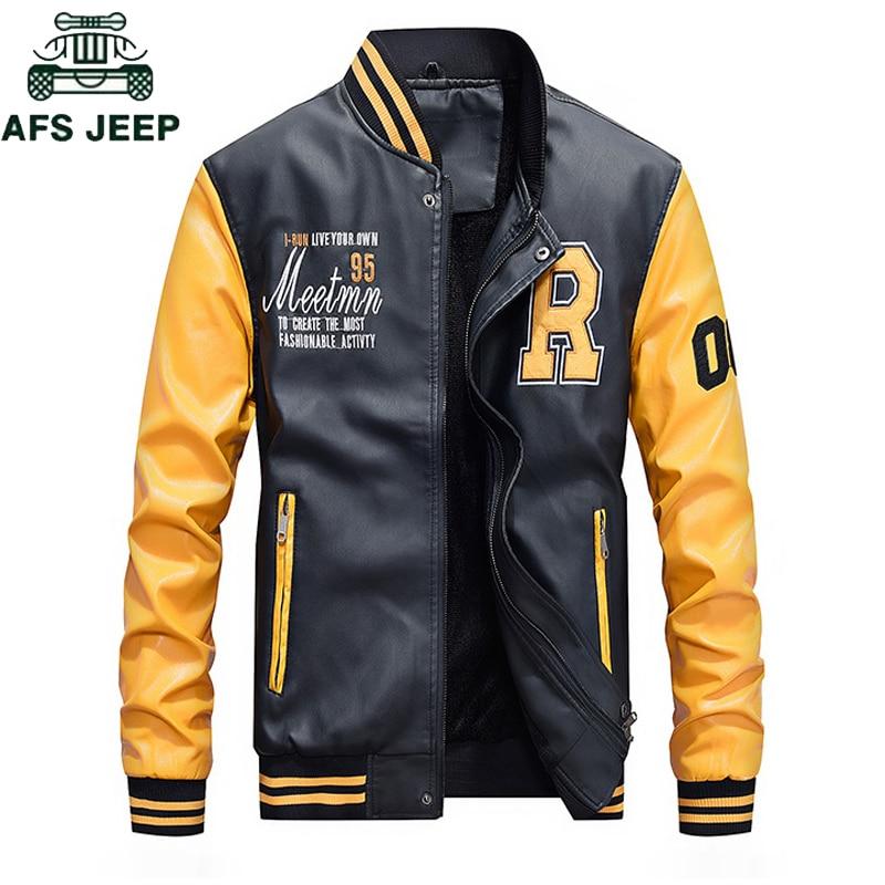 AFS JEEP Marque 2018 Mode Baseball En Cuir Veste Hommes Plus taille M-4XL Automne Hiver Jaqueta Couro Hommes PU Vestes En Cuir manteau