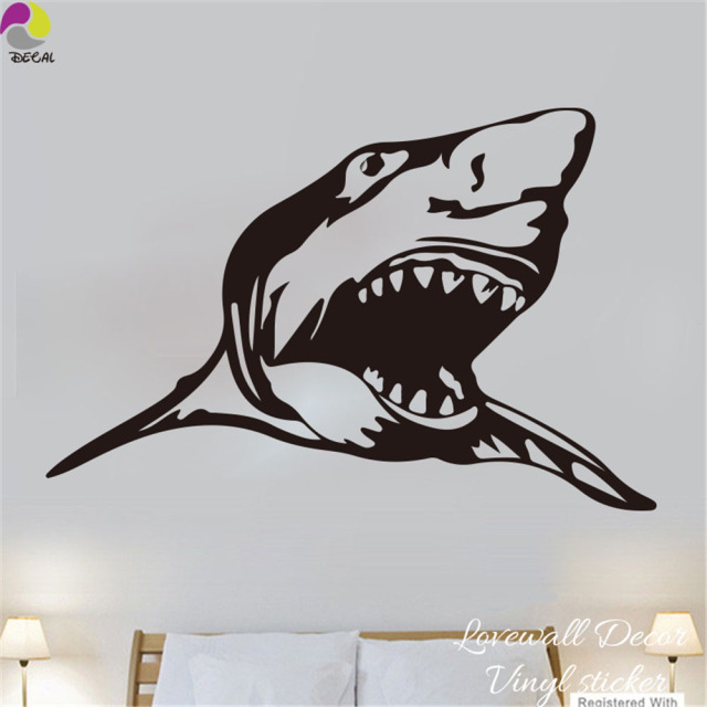 Cartoon Scary Shark Wall Sticker Bedroom Kids Room Under Ocean Animal Fish Wall  Decal Easy Wall
