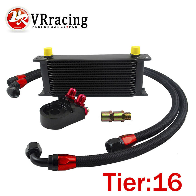 VR Universal 16 ROWS OIL COOLER ENGINE AN10 Oil Filter Cooler Sandwich Plate Adapter Black 2PCS