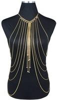Jóia do corpo Da Moda da Cor Do Ouro Corpo Cadeia Harness Colar Cintura Barriga Das Mulheres Bikini Sexy Multicamadas Colares Cadeia Corpo