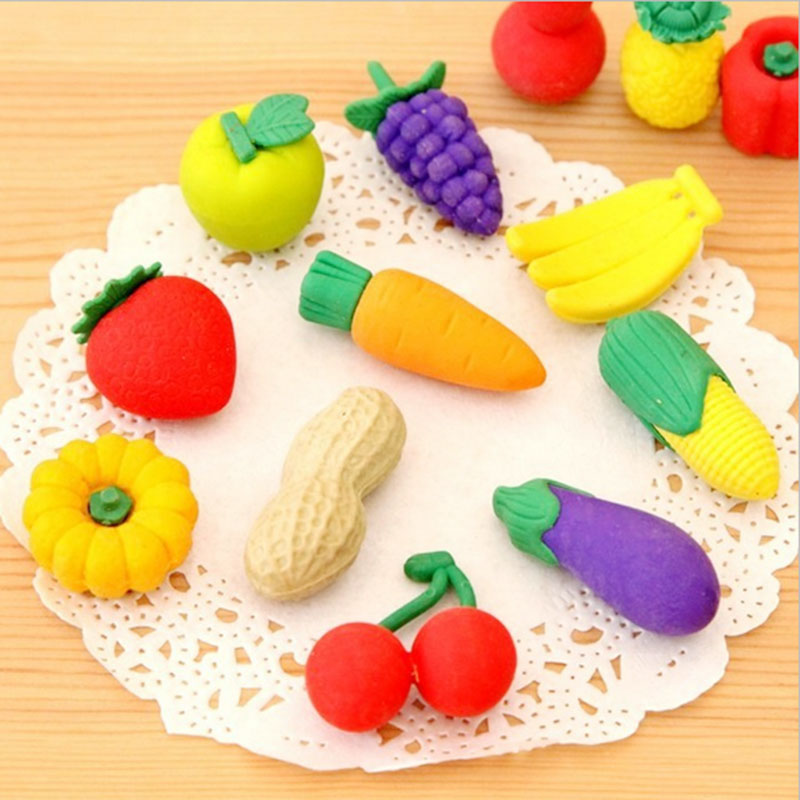 1X Cartoon Eraser Lovely Fruits And Vegetables Modelling Eraser Children Stationery Gift Prizes  Kawaii Office School Supplies