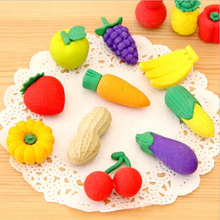 1X Cartoon eraser lovely fruits and vegetables modelling children stationery gift prizes  kawaii office school supplies