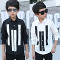 Nuevo 2016 chicos de manga larga camisa de niño camisa de la escuela niños tops ropa blanco negro rayado niños casual camiseta para los niños ropa
