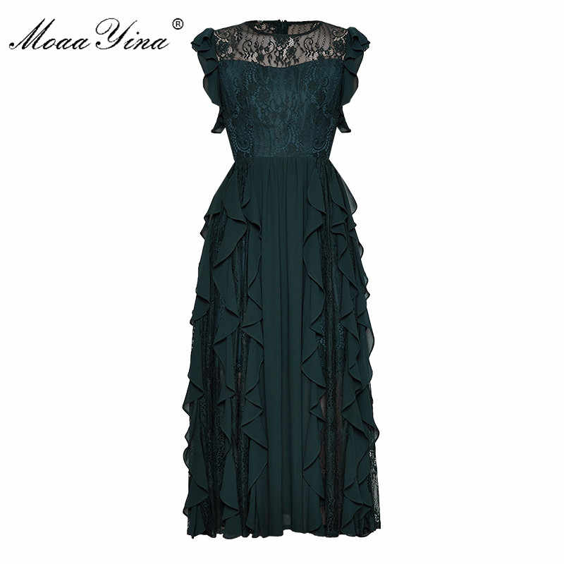 Moaa Yina модное дизайнерское подиумное платье Весна Лето Женское платье кружевное Каскадное гофрированное сексуальное элегантное вечернее платье