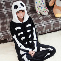 Autumn Winter Halloween Skeleton Onesie Costume Pajamas Adult Unisex Flannel Hooded Sleepwear Pajamas
