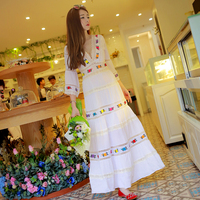 2016 New Fashion Summer Three Quarter Sleeve White Cotton Linen Long Dress Women S V Neck