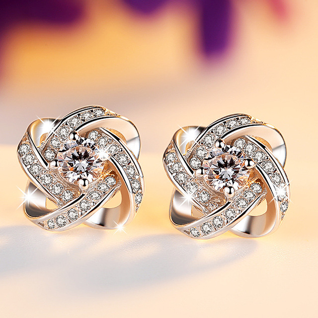 New Fashion Elegant Womens Earrings Silver 925 Cubic Zirconia True Love Knot Stud Earrings Wedding Cocktail Party Jewelry