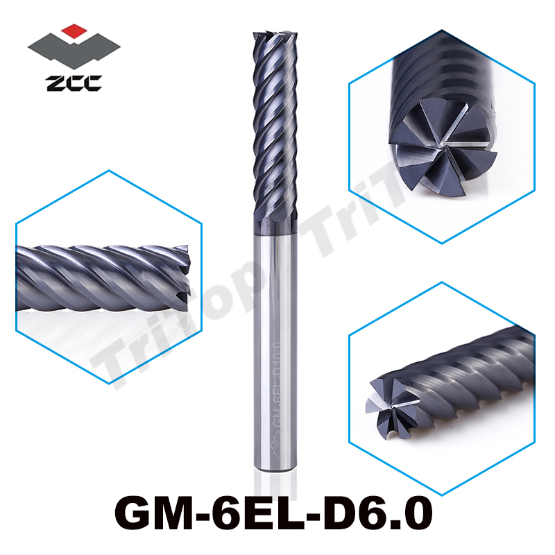 ZCC.CT GM-6EL-D6.0  6 flute flattened end mills  TiAIN coated  Cemented Carbide spiral end mills new microtouch 3m touch screen p n r510 410