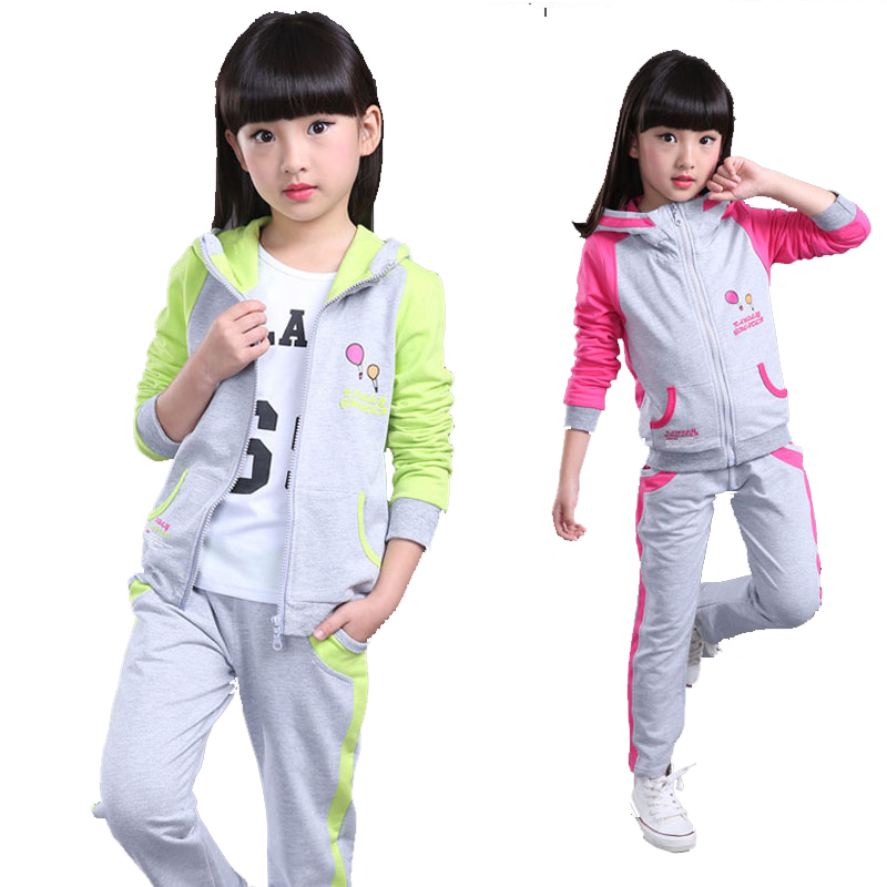 Girls clothing suit spring & autumn children hoodies & pants twinset kids casual sports suit girls clothing sets & tracksuits 2017 autumn kids children training jogging suit football kits jerseys suits girls sweatshirt pants floral casual tracksuits
