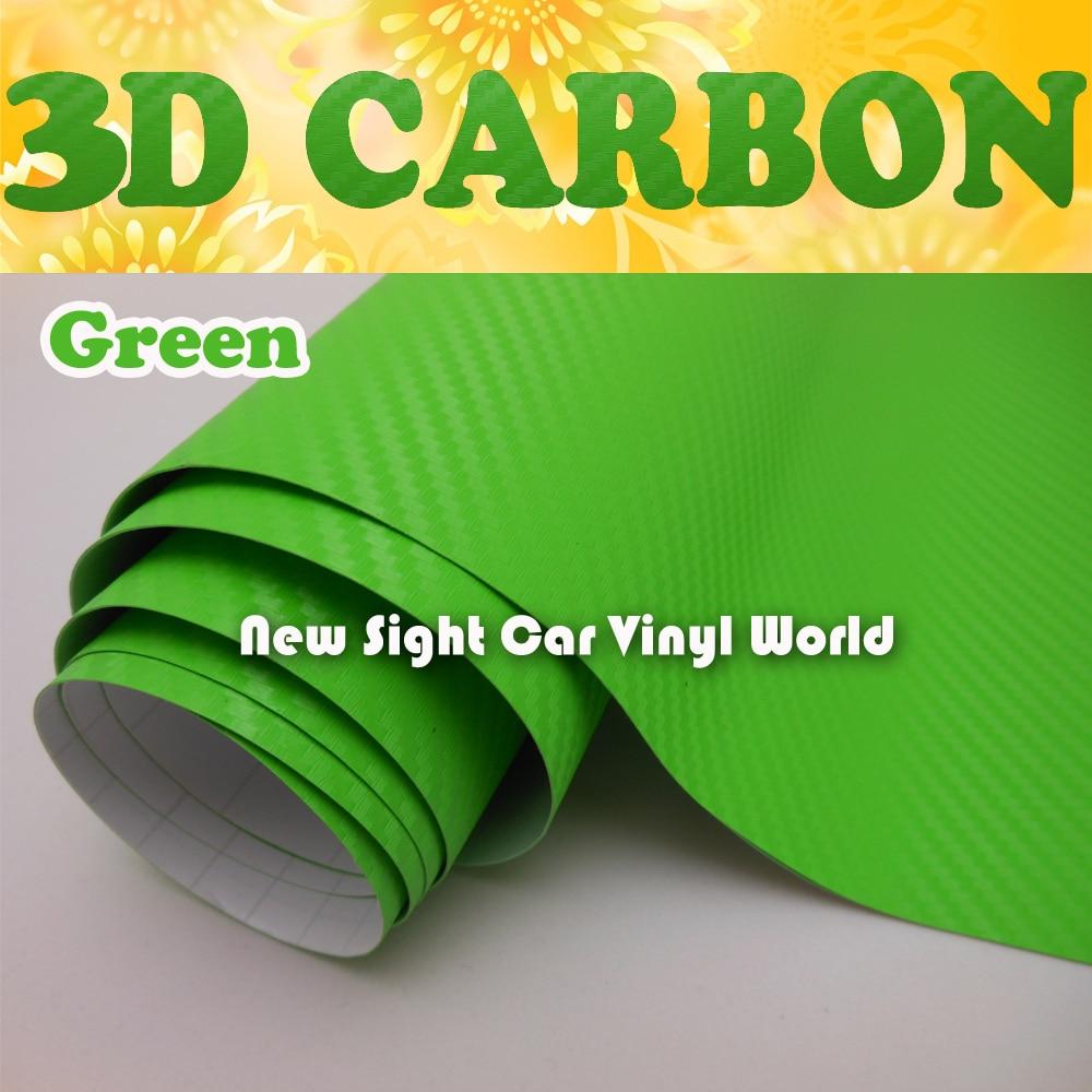 Feuille de Film de vinyle de carbone 3D verte pour les enveloppes de véhicule taille: 1.52*30 m/Roll