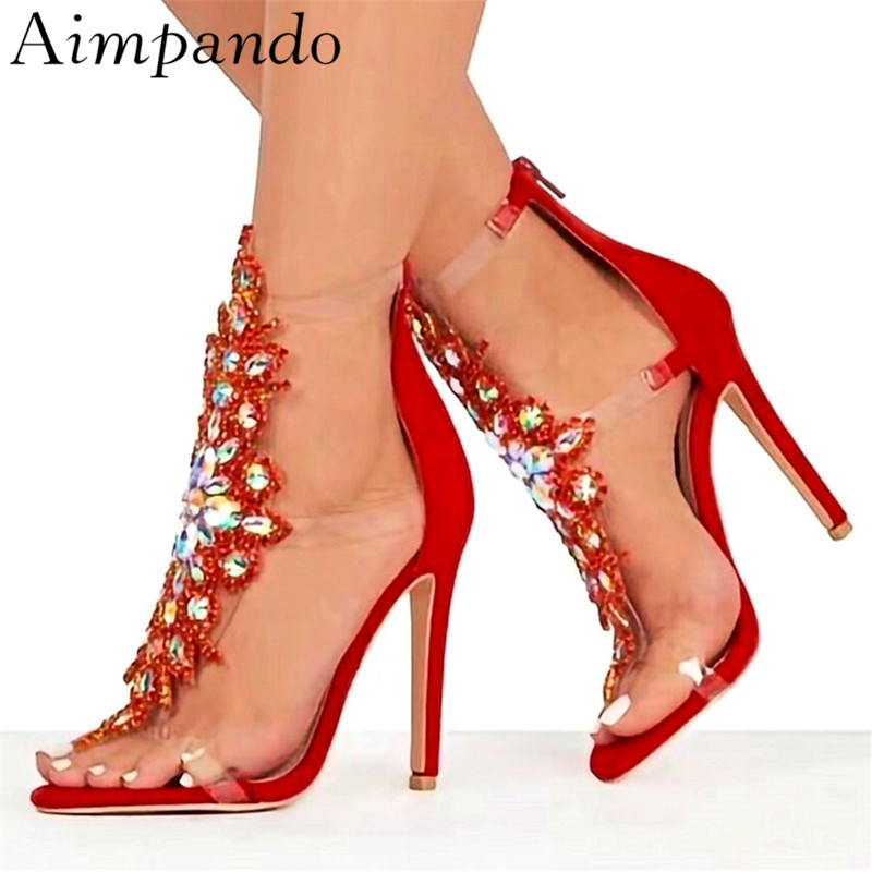 Exotic Crystal Flower Gladiator Sandals Women Thin High Heels Flip Flops Back Zip PVC Transparent Fashion