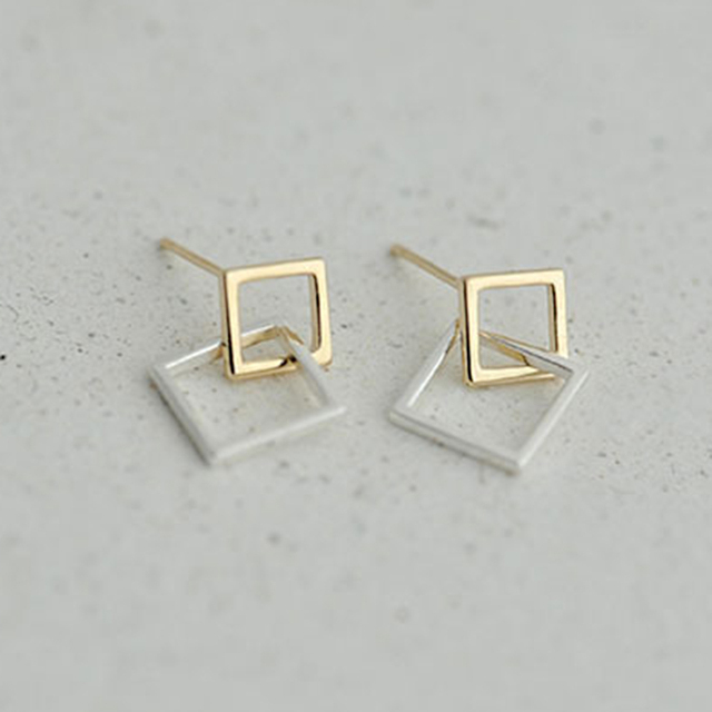 Daisies New Fashion 925 Sterling Silver Geometric Golden Double Square Stud Earrings For Women Statement Jewelry
