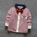 Новая детская одежда мальчиков рубашки весна 2017 детская классика горошек плед печати хлопок футболки для мальчиков 6-24 месяцев!