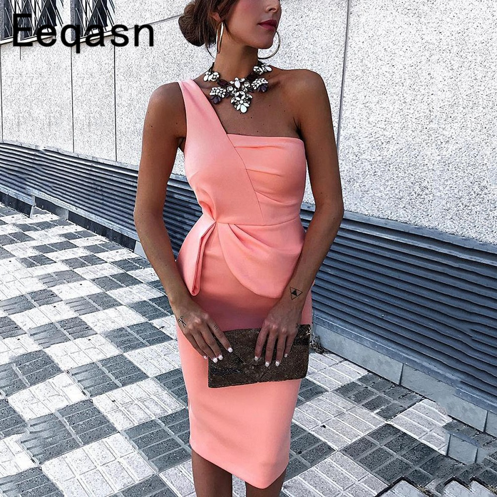 Pink Short   Cocktail     Dresses   2018 Sexy Elegant One Shoulder Sheath Women Knee Length Formal Party Gown Plus Size