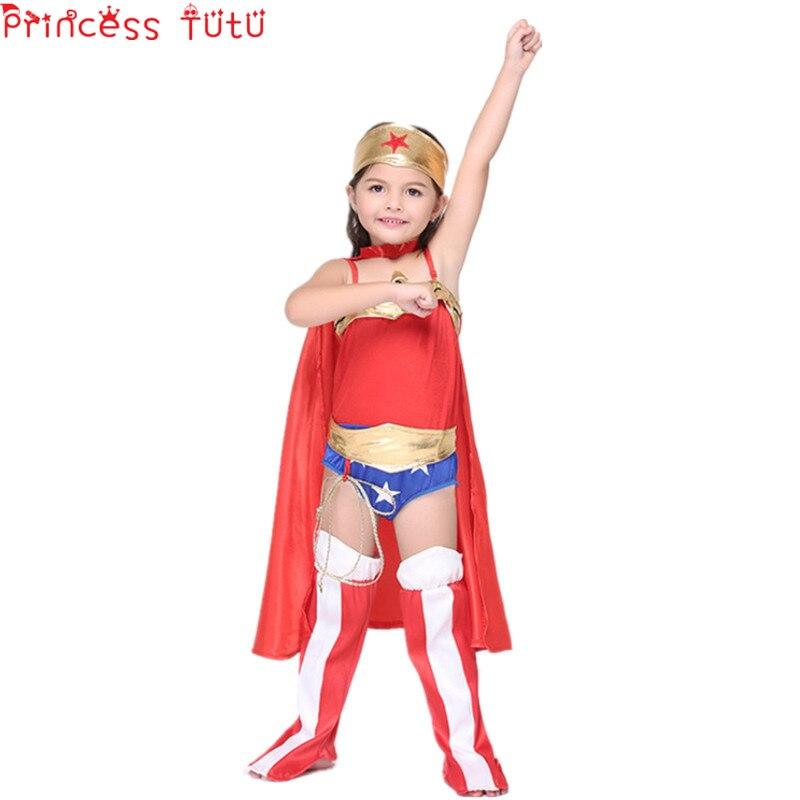 PRINCESS TUTU Kids Girls Vestito Wonder Girl Costume Super Hero Wonder girls Dress America Halloween Costumes Superwoman kc005