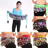 2015 Sexy Women Belly Dance Hip Belts Scarf Rainbow Cheap Belly Dancing Coin Scarves Wrap Belt