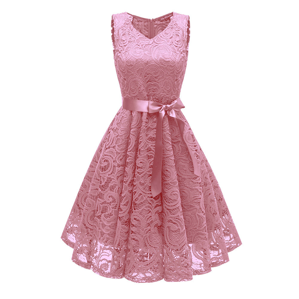 Femmes Vintage Sexy été robe plage robe d'été princesse Floral dentelle Cocktail v-cou fête Aline balançoire robe vestidos verano 2019